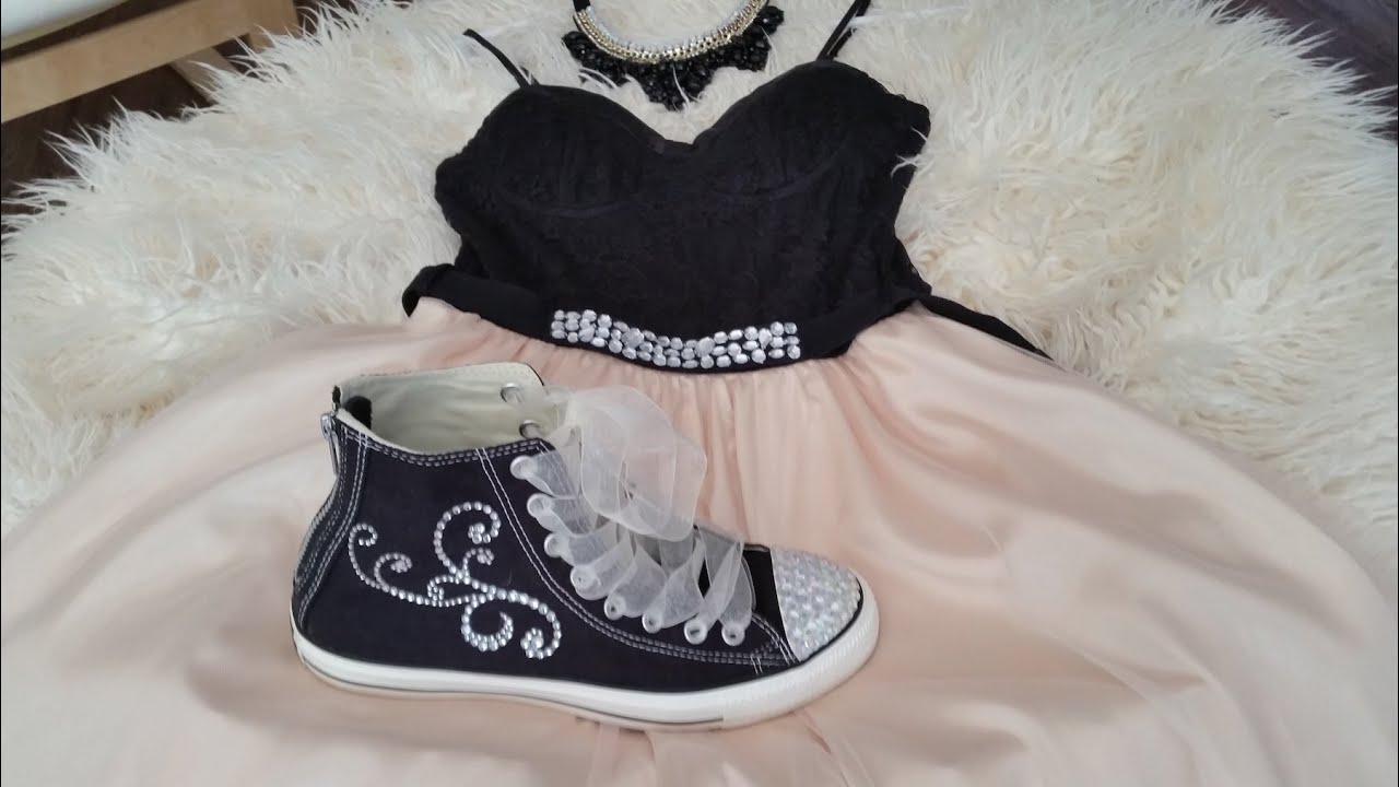 DIY Bedazzled Convers Sneakers Makeover for Homecoming
