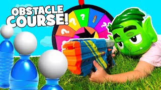 Mystery Wheel Obstacle Course + Super Hero Gear Test for Kids | KIDCITY