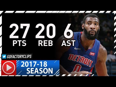 Andre Drummond Full Highlights vs Bucks (2017.12.06) - 27 Pts, 20 Reb, 6 Ast