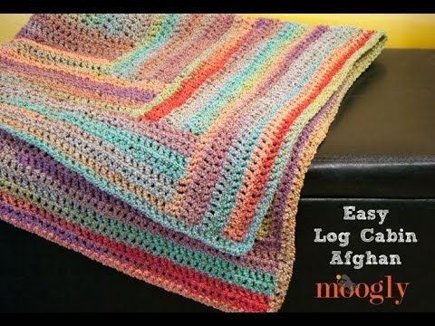 How To Crochet Easy Log Cabin Afghan Youtube