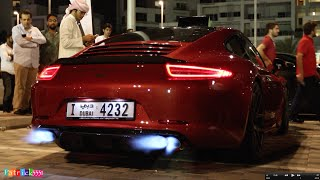 More flames - Porsche 991 moded by SimonMotorSport Dubai at Gulf Car Festival 2014