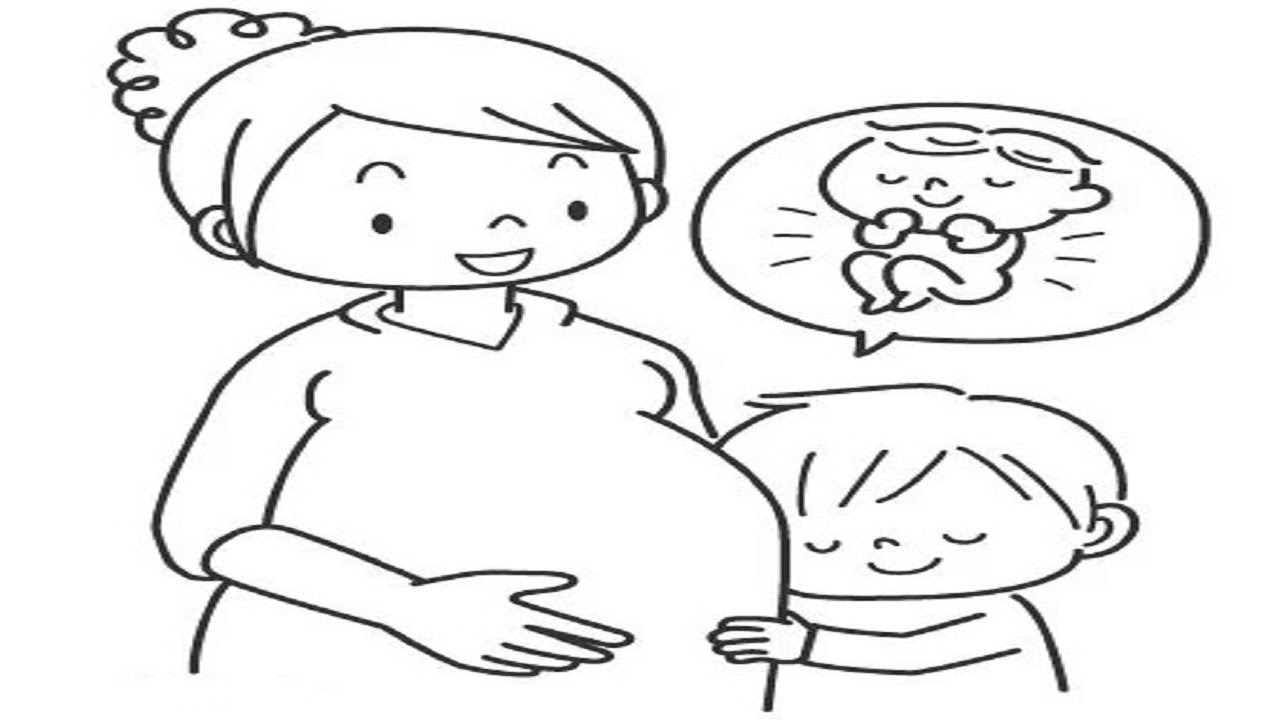 how to drawing pregnant mother and son easy and simple drawing
