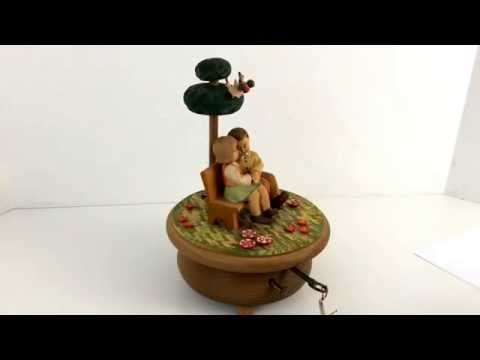 Vintage Anri Thorens Swiss Revolving Music Box Plays Edelweiss Song, Sound of Music