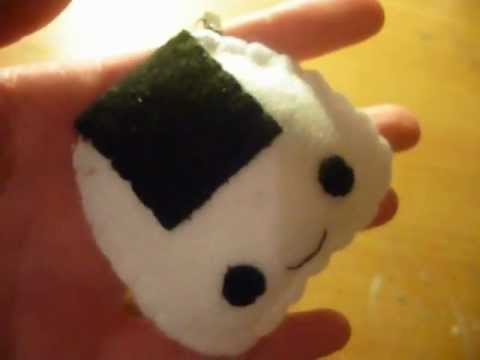 How to make a kawaii onigiri plush keychain from felt for Felt plushie templates