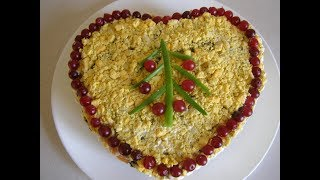 Новогодний салат из печени трески🎄  New Year's cod liver salad