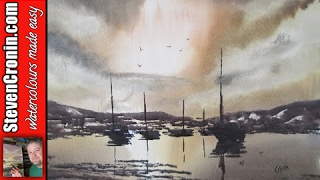 Boats in Harbour Watercolour Painting Tutorial