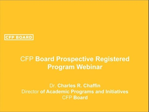 Prospective CFP Board Registered Program Webinar