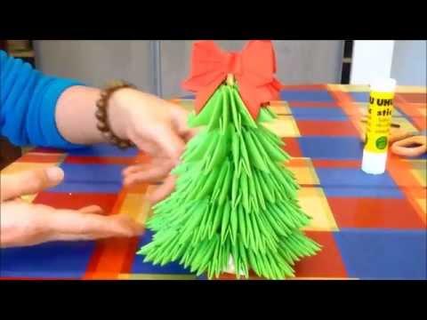 Tutoriel : Comment réaliser un sapin de Noël en Origami 3D - YouTube