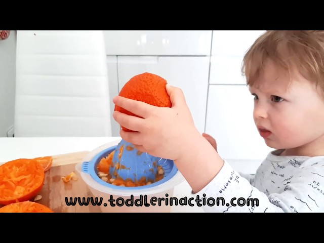 INDOOR TODDLER ACTIVITIES AT HOME, PRACTICAL LIFE, KITCHEN ACTIVITIES Orange juice hand squeezer