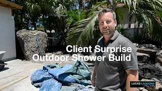 Lucas Lagoons Building An Outdoor Shower With 3 Rocks