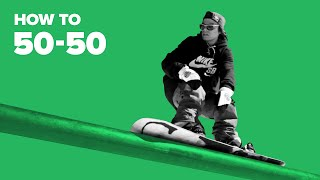 Как сделать 50-50 на сноуборде (How to 50-50 on a snowboard)