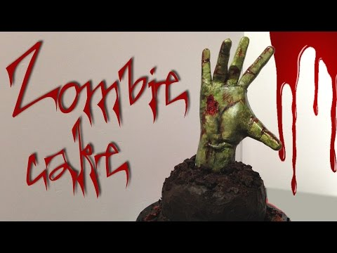ZOMBIE HAND CAKE! How to make this scary Walking Dead zombie cake!