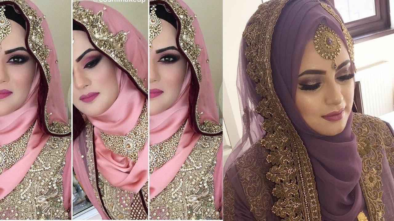 muslim bridal makeup tutorial 2018 || latest muslim bridal makeup and dresses 2018 ||