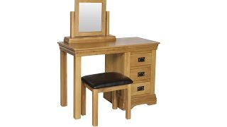 Farmhouse Country Oak Dressing Table Stool Mirror Set