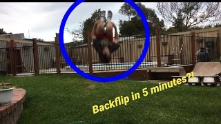 12 year old lands a backflip in 5 minutes backflip progression