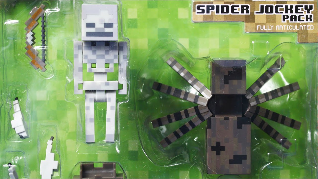 Spider Jockey Action Figure Set Szkielet I Pajak Minecraft