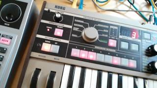 boss dr 880 and a microkorg midi syncronized mp4
