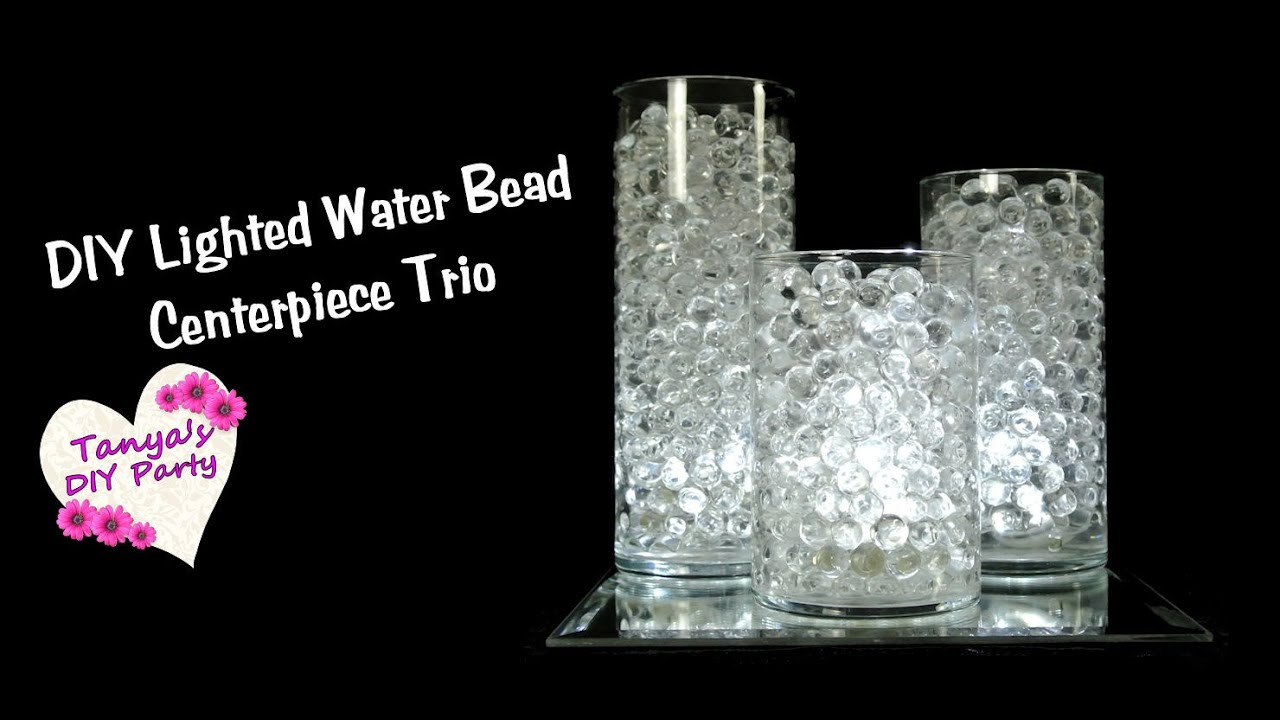 DIY Water Bead Centerpiece Trio With LED Lights YouTube