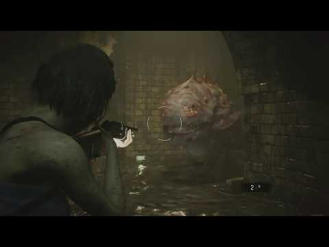 Resident Evil 3 - Sewers: Hunter Y Shotgun Combat Gameplay and Death Animation Sequence (2020)