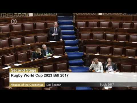 Tommy Broughan TD's speech on the Rugby World Cup 2023 Bill 2017