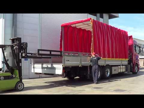 """Scania 3 assi - Cassone fisso con centinatura apribile e smontabile """"Spring"""" e gru Fassi F365RA.2.26"""