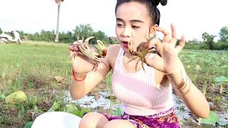 Amazing Cambodian Girl Catch Many Crabs by hand along the rice farm - Village Crab in Siem Reap