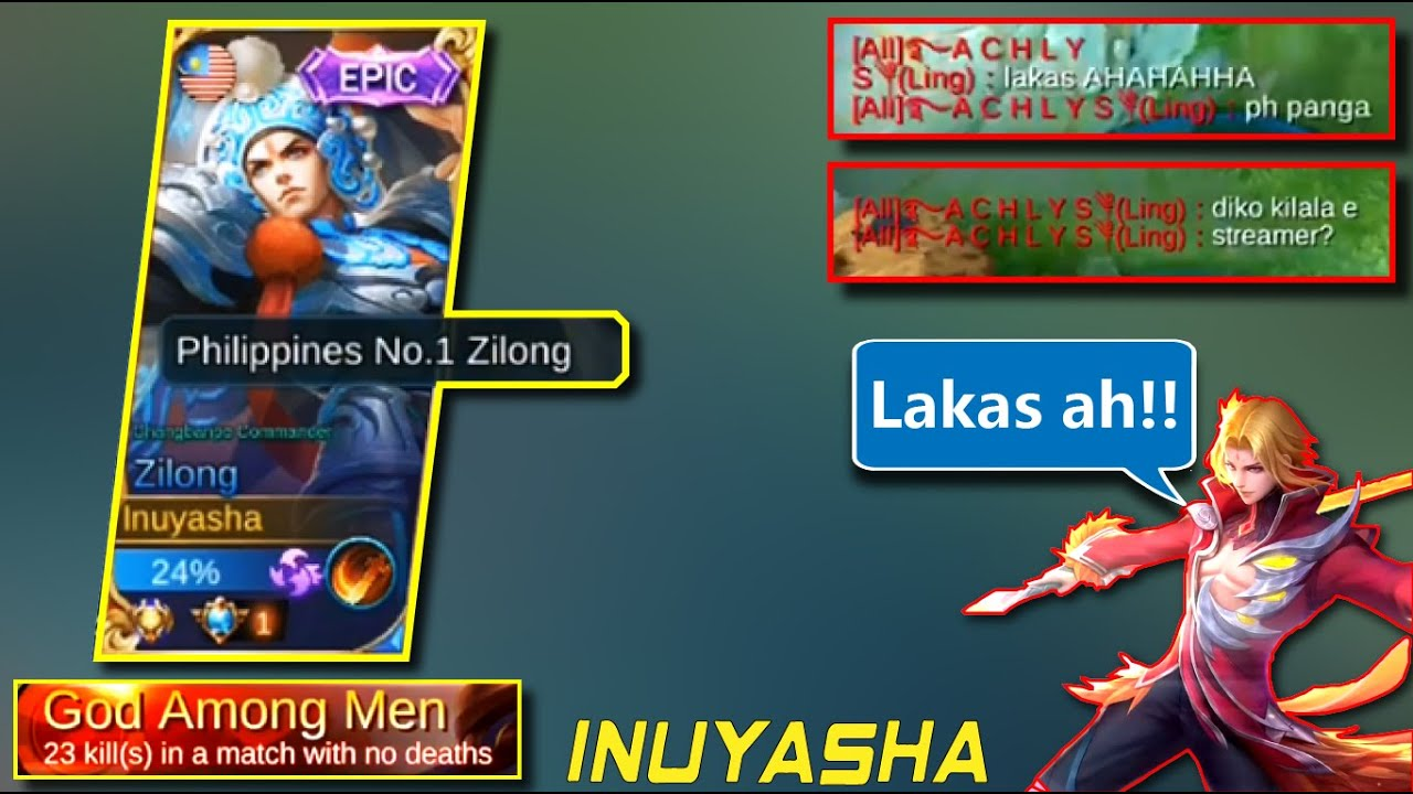 """LING WAS AMAZED"" [God Among Men] | Top 1 Philippines/Global Zilong: Inuyasha. Mobile Legends"