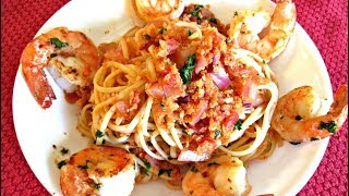 Bold And Spicy Bloody Mary Linguine With Jumbo Shrimp - Poormansgourmet