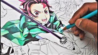 Drawing TANJIRO   Real Time Coloring   Kimetsu No Yaiba