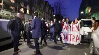 """Arsenal protest """"Wenger Out"""" vs Bayern Munich supporters"""