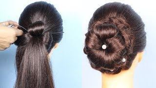 Flower Bun Using Hair Twister    new rose bun hairstyle with trick    easy hairstyles    hairstyle