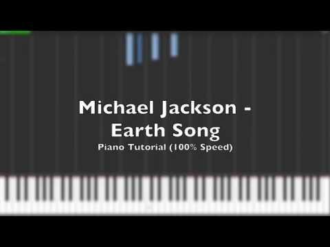 Michael Jackson - Earth Song Piano Tutorial (100% Speed + Midi)