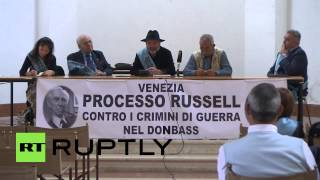 Italy: Obama, Poroshenko judged for war crimes in Ukraine(Video ID: 20140913-017 M/S Members of the jury sitting down, banner reading