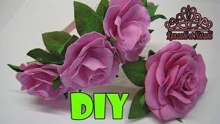 Розы из фоамирана легкий способ МК. ROSAS DE GOMA EVA  DIY