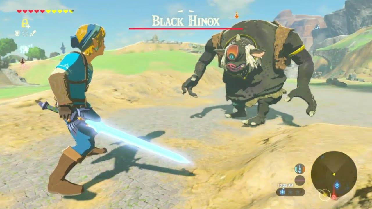 Breath Of The Wild Giant Link Fights A Hinox Youtube
