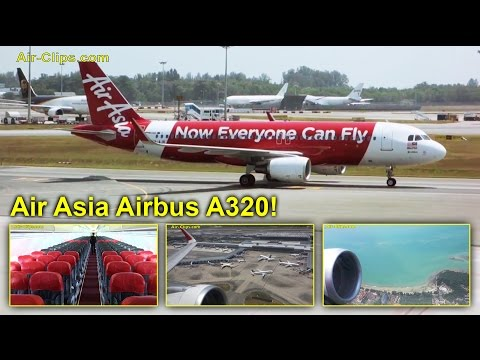 Air Asia Airbus A320 Singapore to Kuala Lumpur - great scenic views! [AirClips full flight series]
