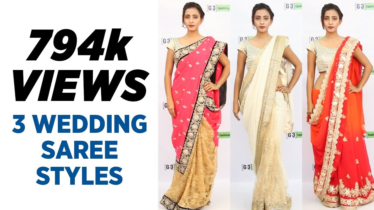 4d3f2548739 How to wear Saree for Wedding - 3 Easy Saree Draping Styles - YouTube