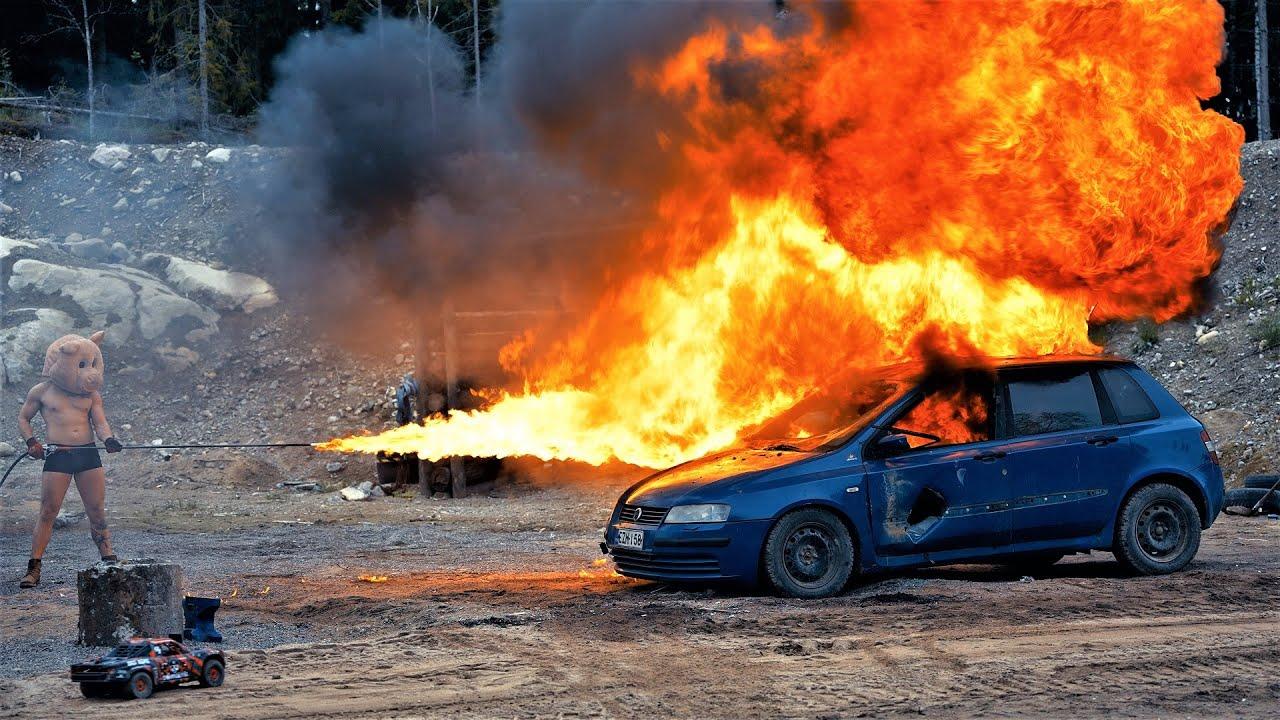 Flamethrower Vs. Car | in 4K Slow Motion