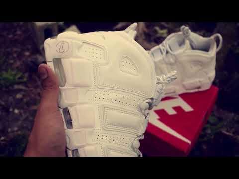 Nike customs all white uptempo custom kicks