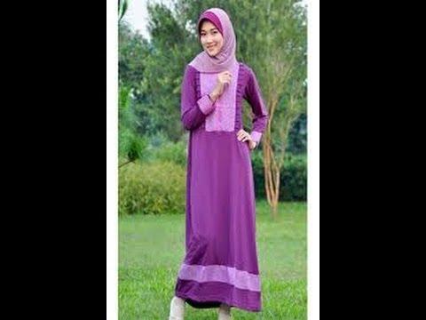Gaun Muslimah Gamis Dewasa Warna Ungu
