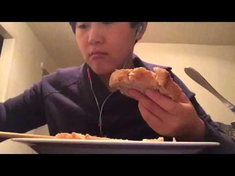 mukbang ASMR guacamole on toast and Ritz cracker