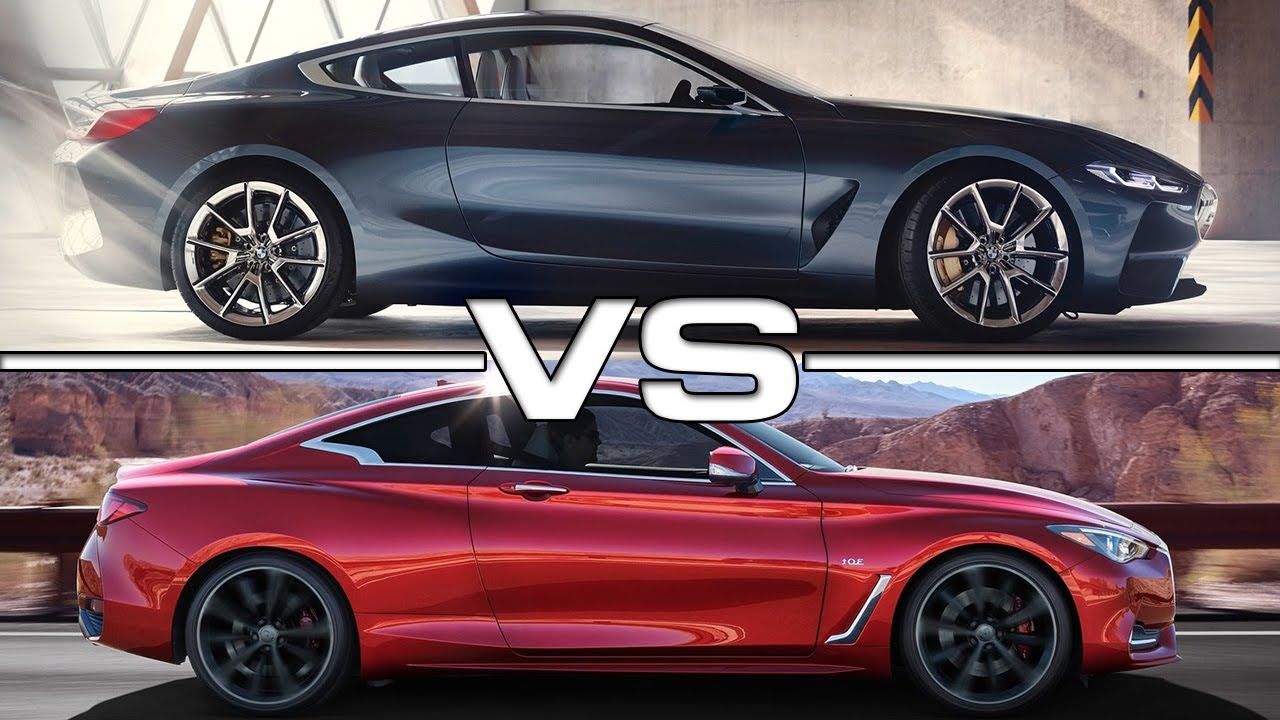 2018 bmw 8 series vs 2017 infiniti q60 coupe - youtube