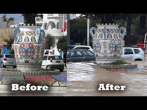 Nabeul, نابل , before and after floods, Tunisia floods, crue éclair, فيضان نابل السريع ،