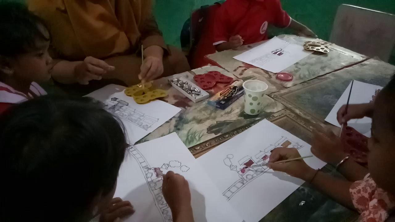 Kegiatan belajar mewarnai menggunakan warna cat air YouTube