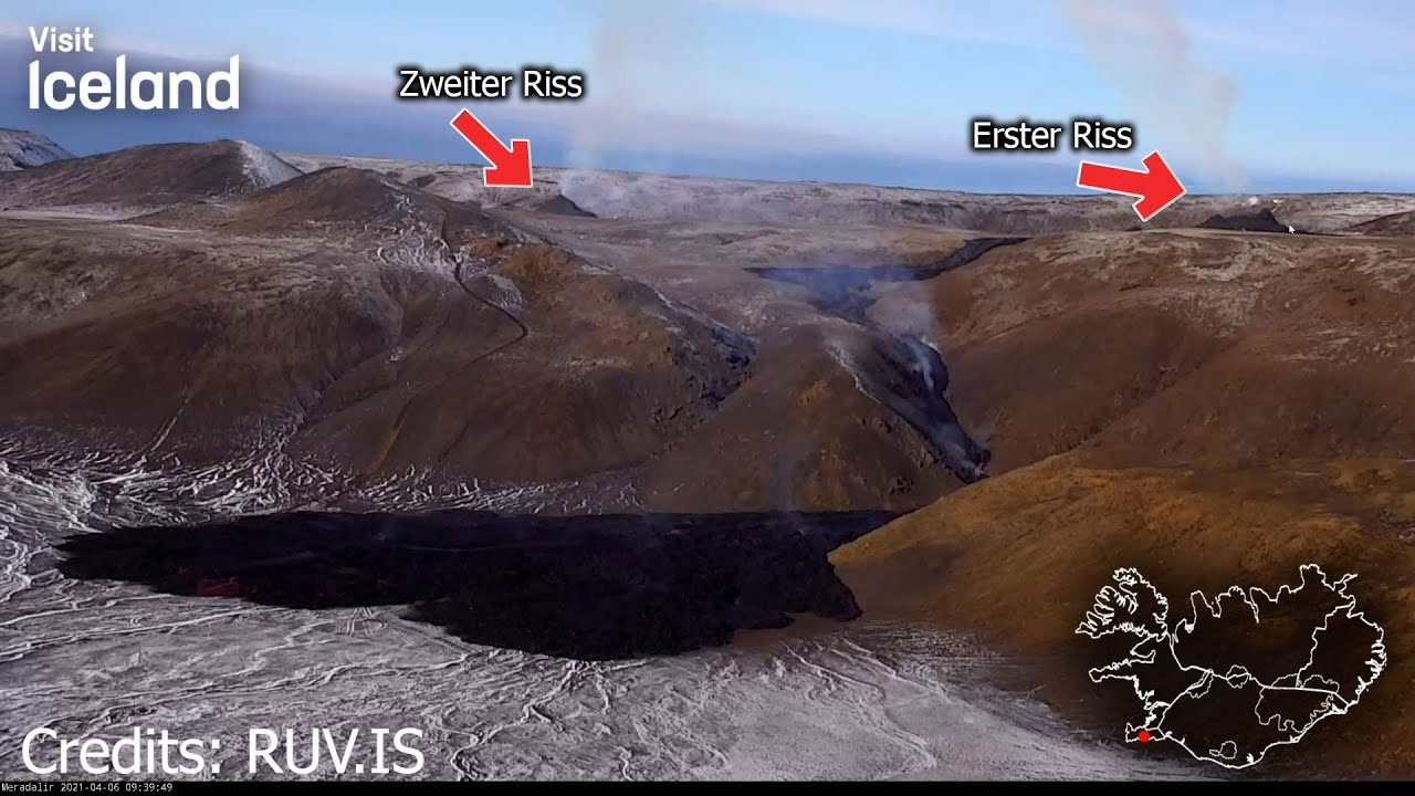 Vulkan auf Island - Lava ergießt sich in Seitental - Zweiter Riss entstanden