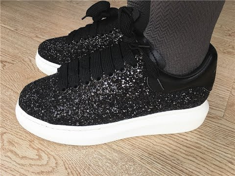 Alexander Mcqueen Black Glitter Platform Sneakers from sneakersnet.ru