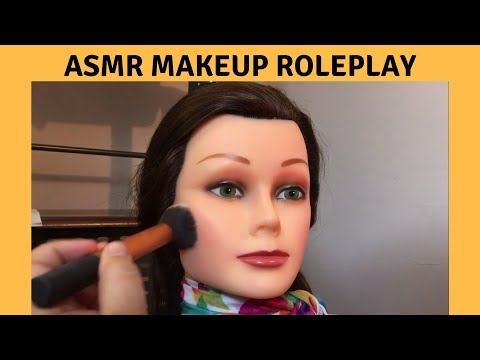 ASMR Makeup Roleplay on Mannequin/Doll Face - Whispering