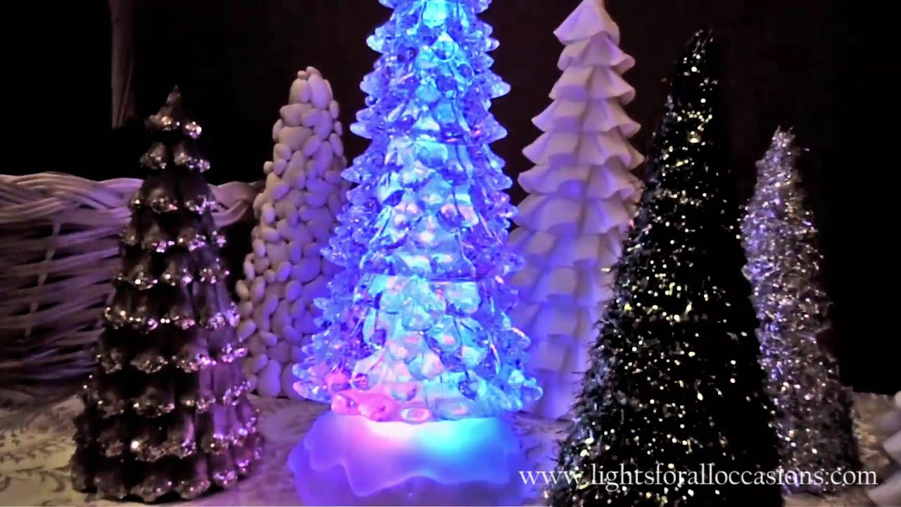 lighted christmas tree w glitter spinner color changing leds demo youtube - Led Lighted Christmas Decorations