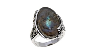 Colleen Lopez Labradorite and Marcasite Ring thumbnail