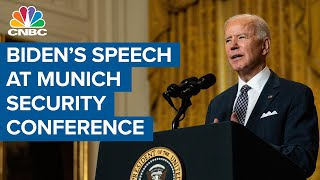 President Joe Biden delivers remarks to the Virtual Munich Security Conference